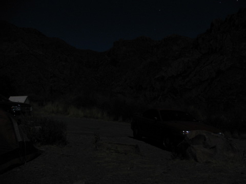 Campgrounds under moonlight
