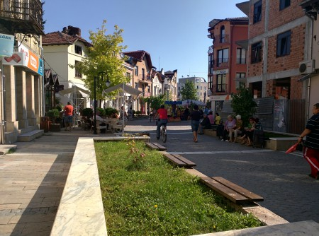 Start of a main street in town center largely for pedestrians