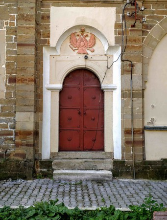 Notice the double headed eagle on the church door