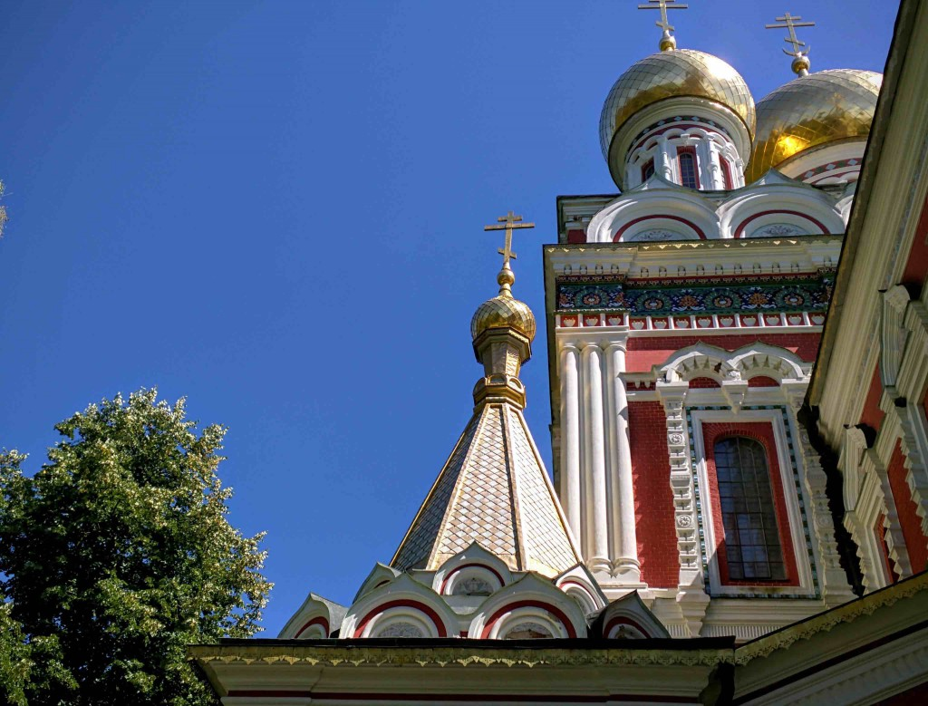 The left wing of the church. Notice the gold plated domes. It is typical of 19th century Muscovite style.
