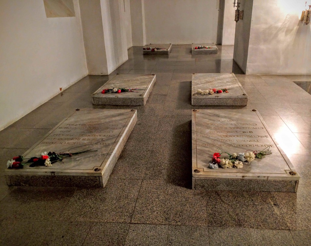 Few of the man sarcophagi that contains remains of soldiers who dies in the battles of Shipka pass